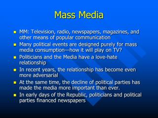 how are television media�s influenced by political parties Answer political parties put candidates in elections based on what the party wants to get done by doing this they have a better chance of accomplishing their goals.