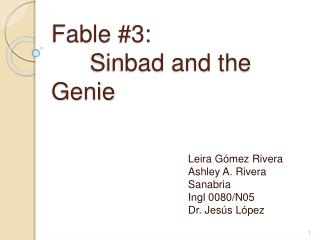 Fable #3:  	 Sinbad and the Genie