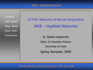 WK8 – Hopfield Networks
