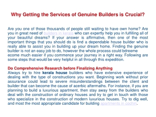 Why Getting the Services of Genuine Builders is Crucial