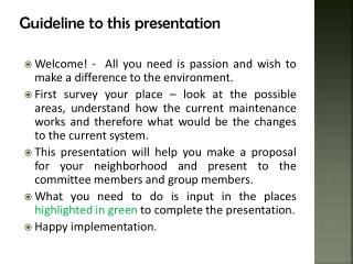 Guideline to this presentation