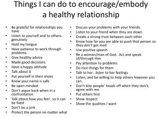 Things I can do to encourage/embody a healthy relationship