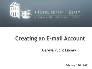 Creating an E-mail Account