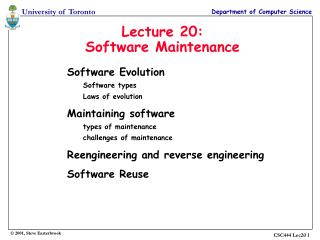 Lecture 20: Software Maintenance