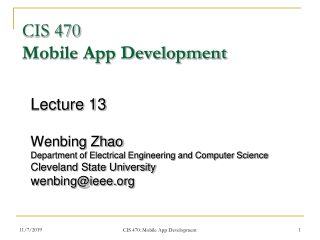 CIS 470 Mobile App Development