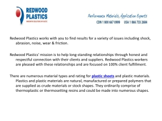 Types of plastic products at Redwood Plastics