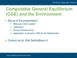 Computable General Equilibrium (CGE) and the Environment