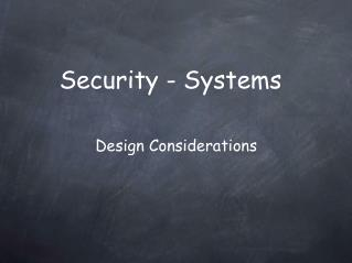 Security - Systems
