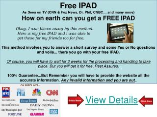 free ipad - how can you get one easily