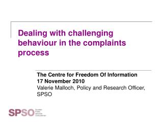 Dealing with challenging behaviour in the complaints process