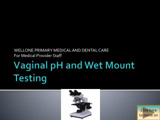 Vaginal pH and Wet Mount Testing