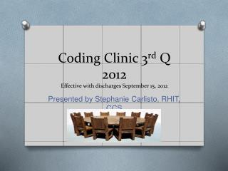 Coding Clinic 3 rd Q 2012 Effective with discharges September 15, 2012