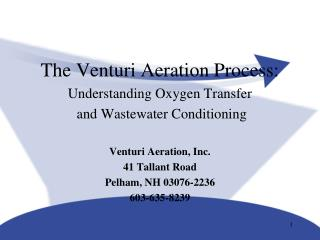 The Venturi Aeration Process: