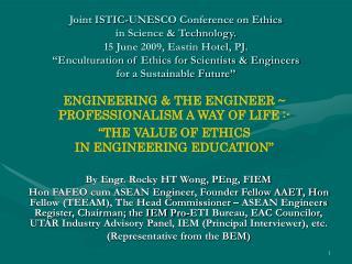 By Engr. Rocky HT Wong, PEng, FIEM