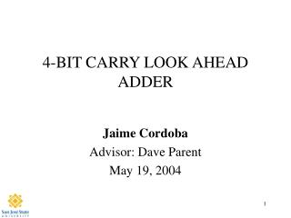 4-BIT CARRY LOOK AHEAD ADDER
