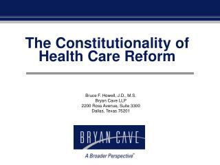 The Constitutionality of Health Care Reform