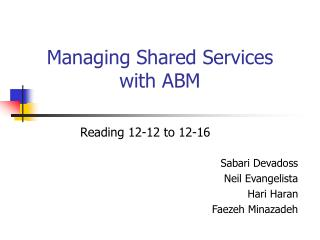 Managing Shared Services with ABM