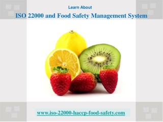 ISO 22000 and Food Safety Management System