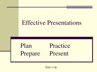 Effective Presentations  	Plan		Practice 	Prepare	Present
