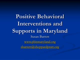 Positive Behavioral Interventions and Supports in Maryland