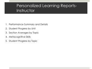 Personalized Learning Reports-Instructor