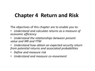 chapter 10:  measuring investment returns