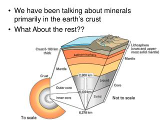We have been talking about minerals primarily in the earth s crust What About the rest
