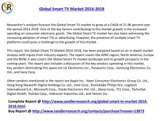 Global Smart TV Market Forecasts 2014-2018