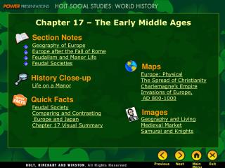 Chapter 17 – The Early Middle Ages