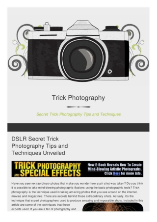 Secret Tips and Techniques for Trick Photography