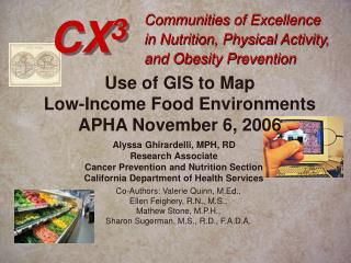 Communities of Excellence  in Nutrition, Physical Activity, and Obesity Prevention