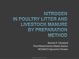 Nitrogen  in Poultry Litter and Livestock Manure  by Preparation method