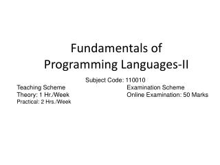 Fundamentals of Programming Languages-II