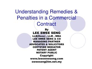 Understanding Remedies & Penalties in a Commercial Contract