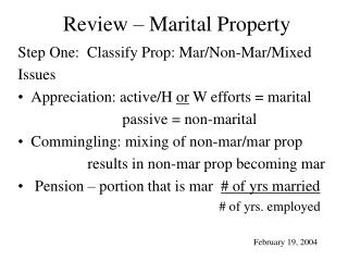 Review – Marital Property