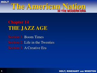 Chapter 14  THE JAZZ AGE