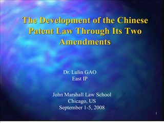the development of the chinese patent law through its two amendments