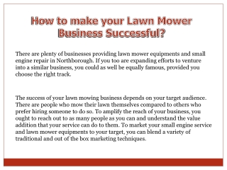How to make your lawn mower business successful?