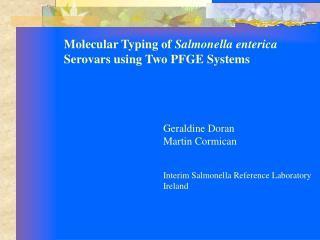Molecular Typing of Salmonella enterica Serovars using Two PFGE Systems