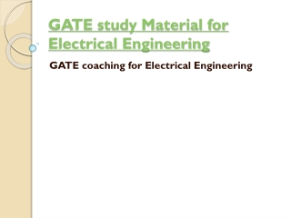GATE Study Material for Electrical Engineering