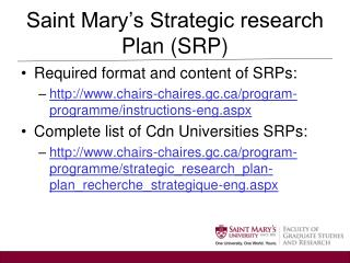 Saint Mary's Strategic research Plan (SRP)