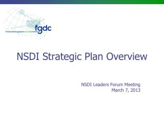 NSDI Strategic Plan Overview