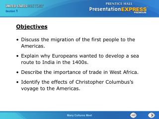 Discuss the migration of the first people to the Americas. Explain why Europeans wanted to develop a sea route to India