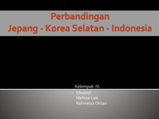 Perbandingan Jepang - Korea Selatan - Indonesia