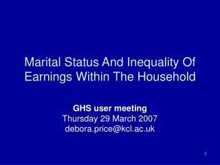 Marital Status And Inequality Of Earnings Within The Household