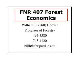 FNR 407 Forest Economics