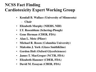 NCS S Fact Finding Cardio toxicity Expert Working Group