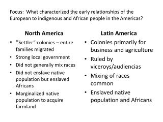Focus: What characterized the early relationships of the European to indigenous and African people in the Americas?