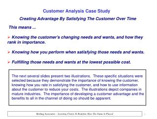 Creating Advantage By Satisfying The Customer Over Time
