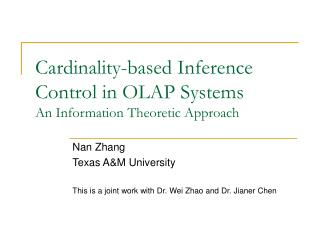 Cardinality-based Inference Control in OLAP Systems An Information Theoretic Approach